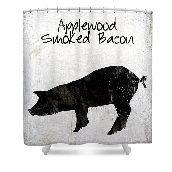 Applewood Smoked Bacon Weathered Farm Sign, Industrial Farmhouse Kitchen Art Shower Curtain
