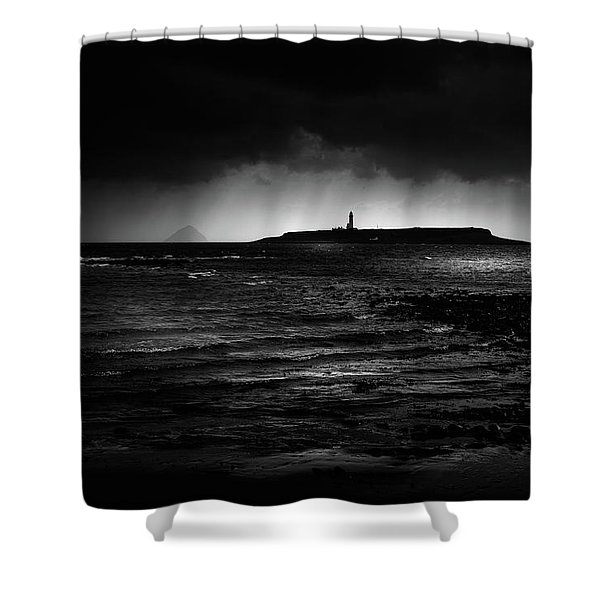 Approaching Storm, Ailsa Craig And Pladda Island Shower Curtain