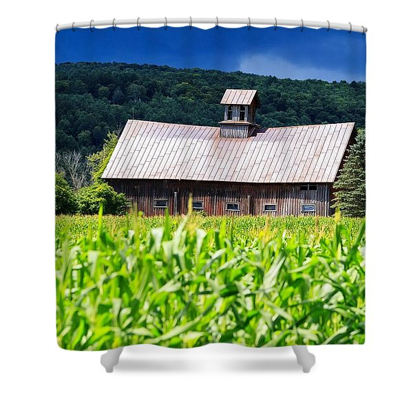 Approaching Storm Vermont Barn Shower Curtain