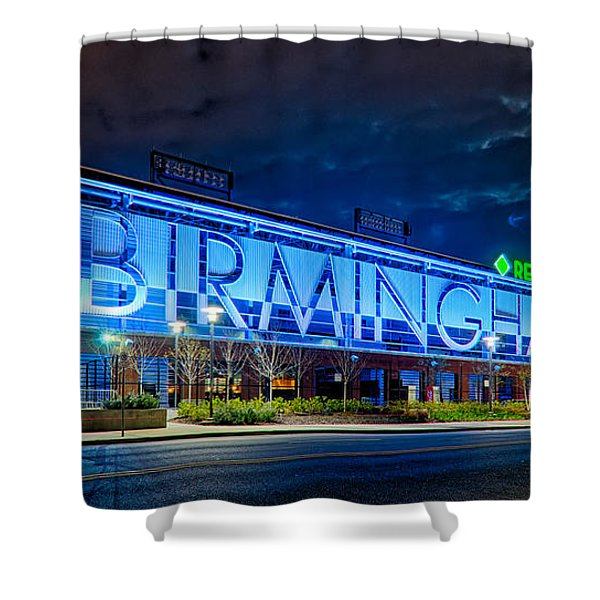 Shower Curtain featuring the photograph April 2015 -  Birmingham Alabama Baseball Regions Field At Night by Alex Grichenko