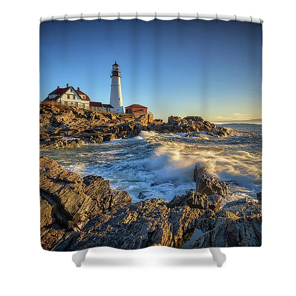 April Morning At Portland Head Shower Curtain