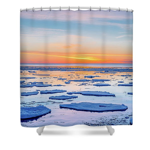 April Sunset Over Lake Superior Shower Curtain
