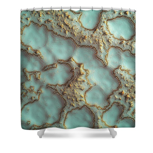 Aqua Coral Reef Abstract Shower Curtain