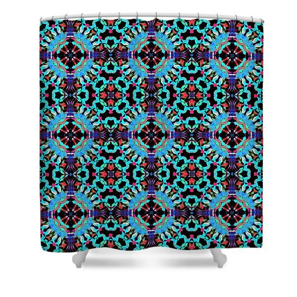 Aqua Geometric Mandala Shower Curtain