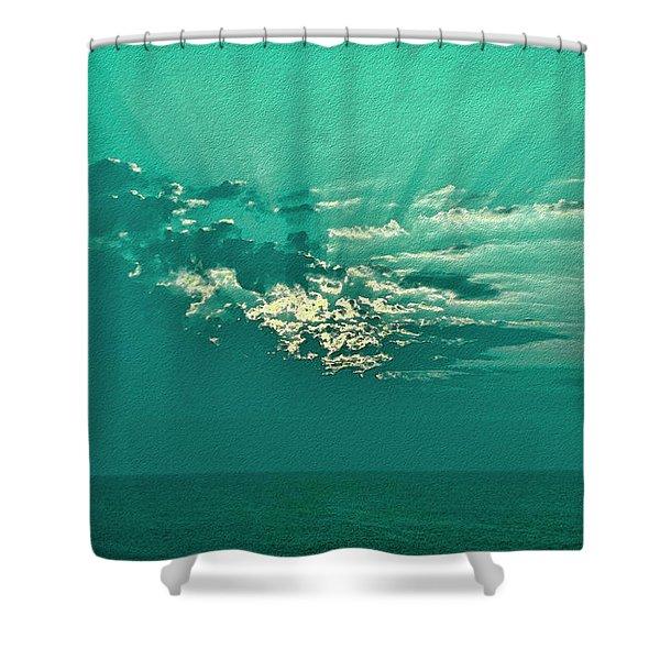 Aqua Sunset Shower Curtain