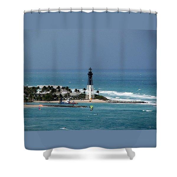 Aqua Water At Hillsboro Lighthouse In Florida Shower Curtain