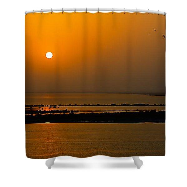 Arabian Gulf Sunset Shower Curtain