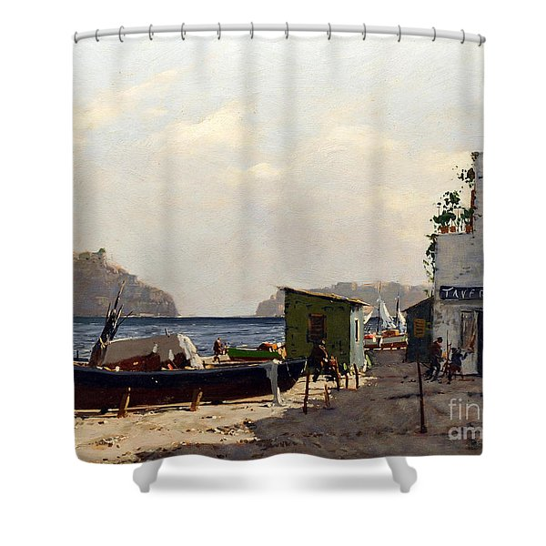 Shower Curtain featuring the painting Aragonese's Castle - Island Of Ischia by Rosario Piazza