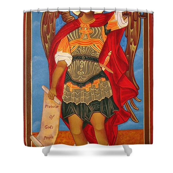 Arch Angel - St Michael Shower Curtain by Bill Cannon