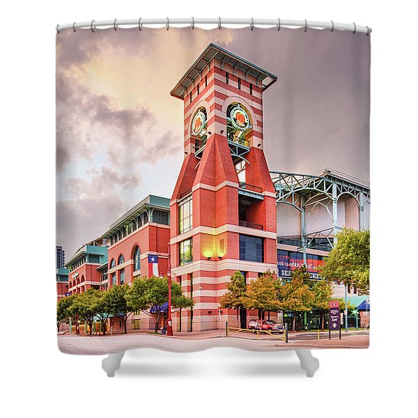 Architectural Photograph Of Minute Maid Park Home Of The Astros - Downtown Houston Texas Shower Curtain