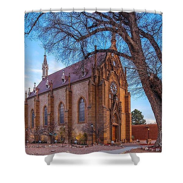 Architectural Photograph Of The Loretto Chapel In Santa Fe New Mexico Shower Curtain