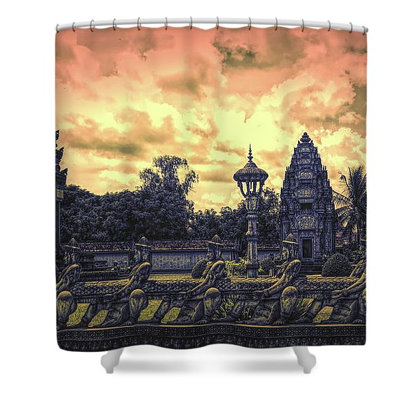 Architecture Angkor Wat Flames  Shower Curtain