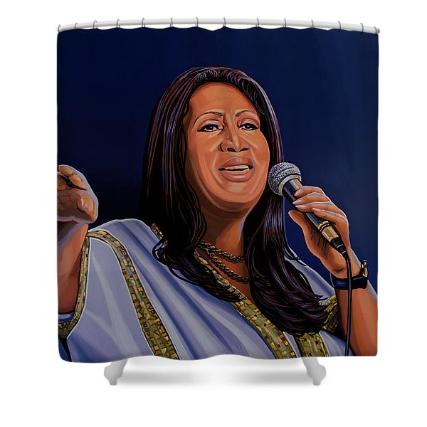 Aretha Franklin Painting Shower Curtain