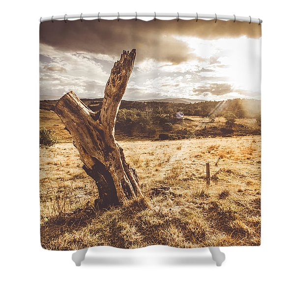 Arid Tasmania Bush Landscape Shower Curtain