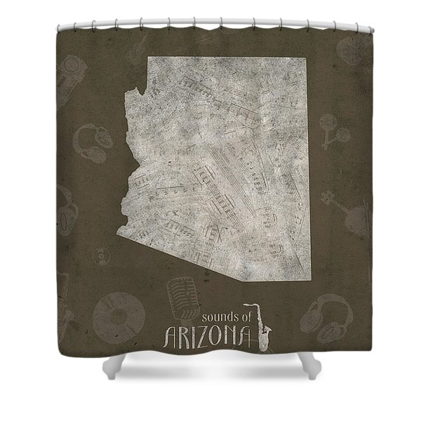 Arizona Map Music Notes 3 Shower Curtain