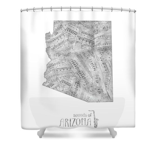 Arizona Map Music Notes Shower Curtain