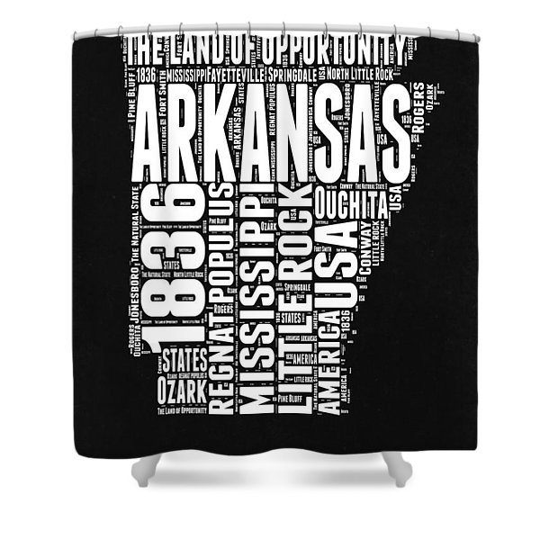 Arkansas Black And White Map Shower Curtain