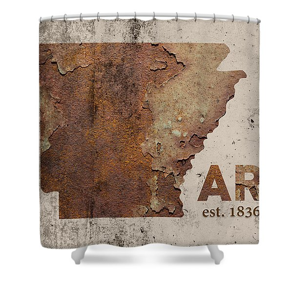 Arkansas State Map Industrial Rusted Metal On Cement Wall With Founding Date Series 034 Shower Curtain