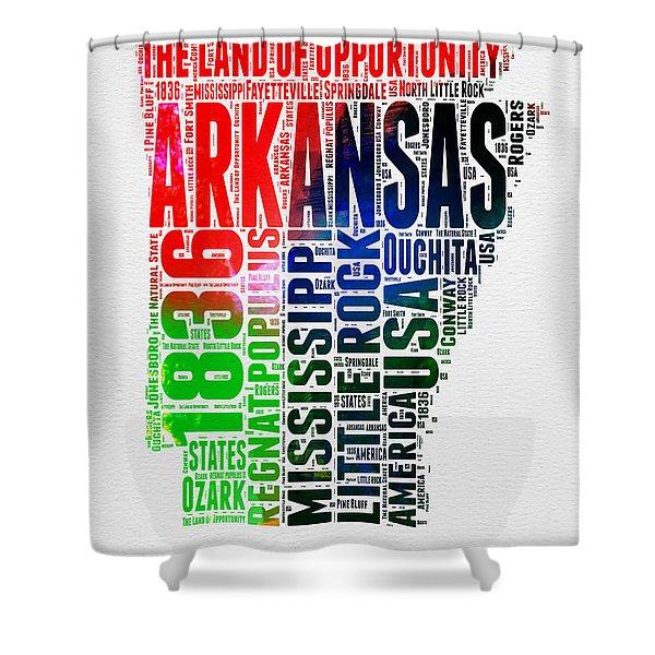 Arkansas Watercolor Word Cloud  Shower Curtain