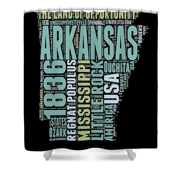 Arkansas Word Cloud 1 Shower Curtain