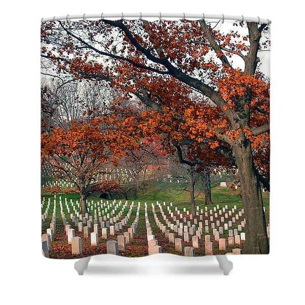 Shower Curtain featuring the photograph Arlington Cemetery In Fall by Carolyn Marshall