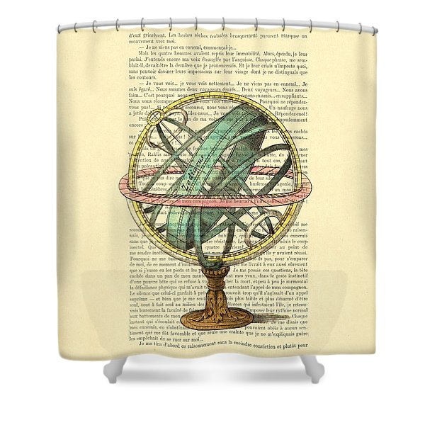 Armillary Sphere In Color Antique Illustration On Book Page Shower Curtain