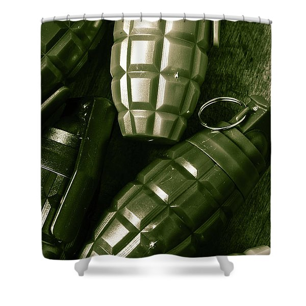 Army Green Grenades Shower Curtain