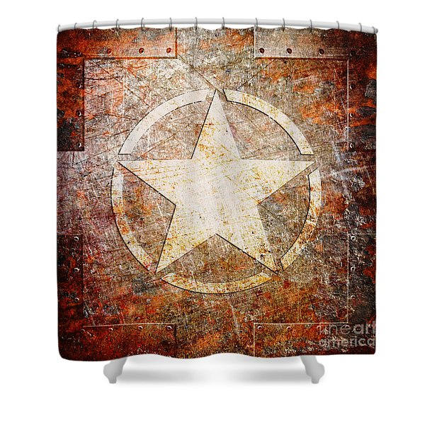 Army Star On Rust Shower Curtain