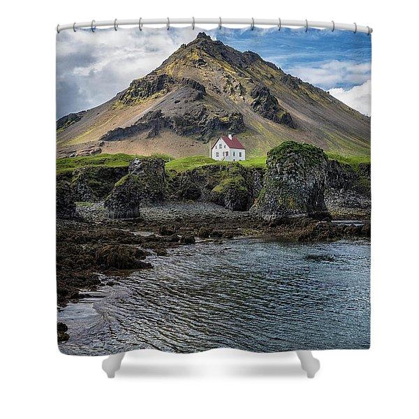 Shower Curtain featuring the photograph Arnarstapi House by Tom Singleton