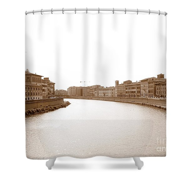 Arno River In Pisa Shower Curtain