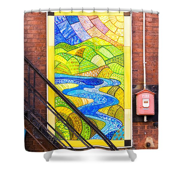 Shower Curtain featuring the photograph Art And The Fire Escape by Tom Singleton