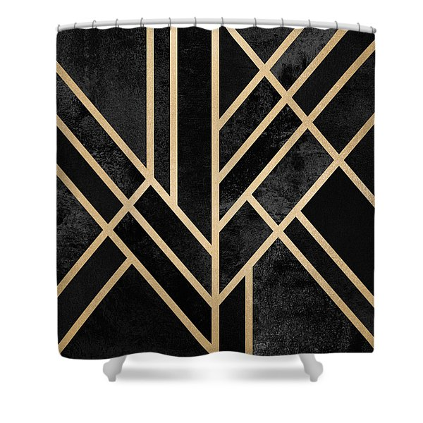 Art Deco Black Shower Curtain