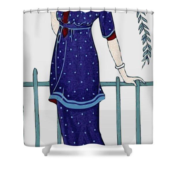 Art Deco Fashion Polka Dots Shower Curtain