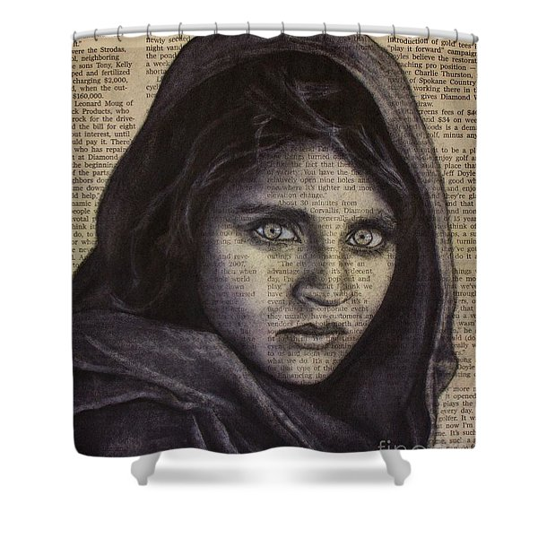 Art In The News 64-afghan Girl Shower Curtain