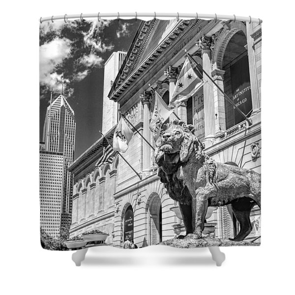 Art Institute In Chicago Black And White Shower Curtain