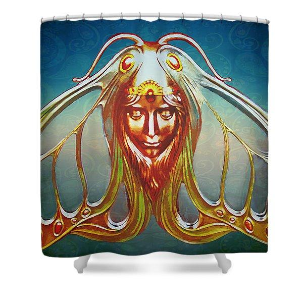 Art Nouveau Butterfly Woman Shower Curtain