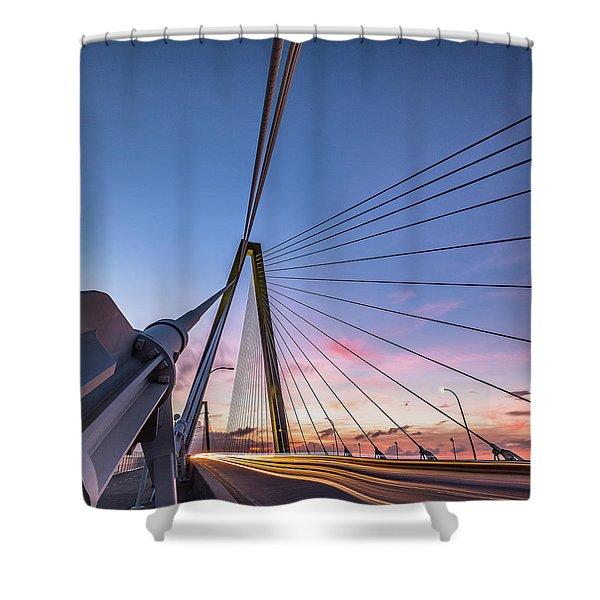 Arthur Ravenel Jr. Bridge Light Trails Shower Curtain