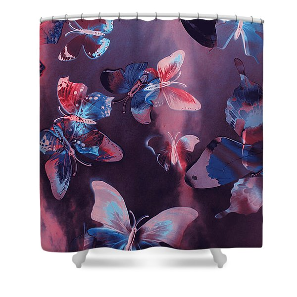 Artistic Colorful Butterfly Design Shower Curtain