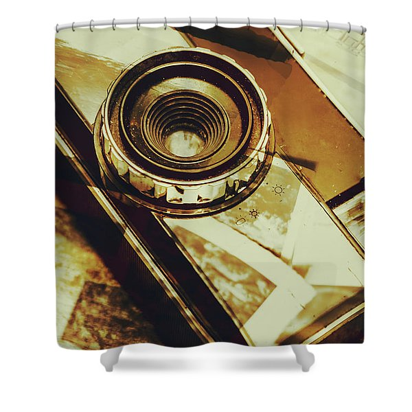 Artistic Double Exposure Of A Vintage Photo Tour Shower Curtain