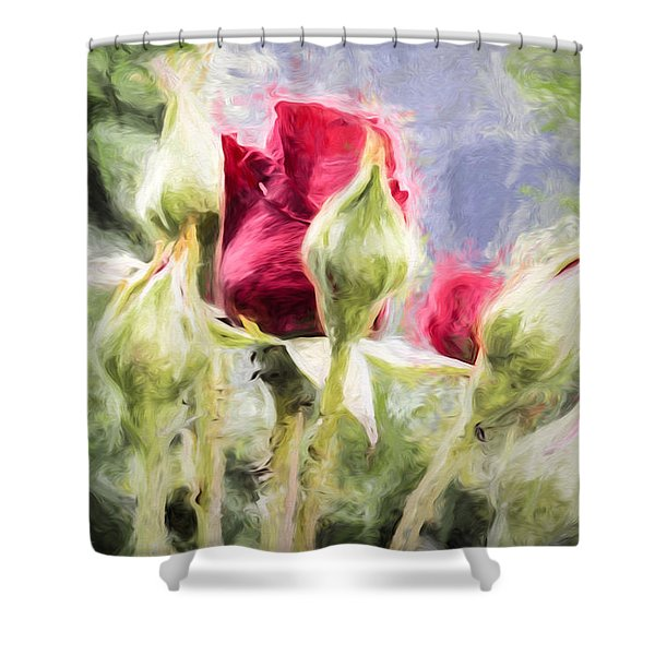 Artistic Rose And Buds Shower Curtain