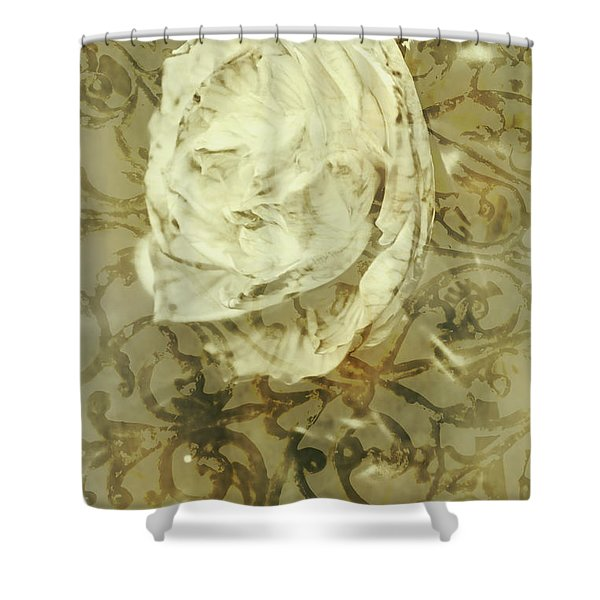 Artistic Vintage Floral Art With Double Overlay Shower Curtain
