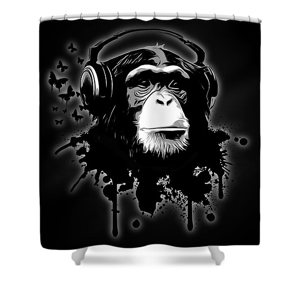 Monkey Business - Black Shower Curtain by Nicklas Gustafsson