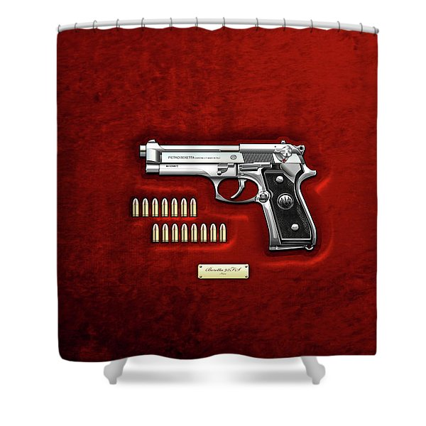Beretta 92fs Inox With Ammo On Red Velvet  Shower Curtain