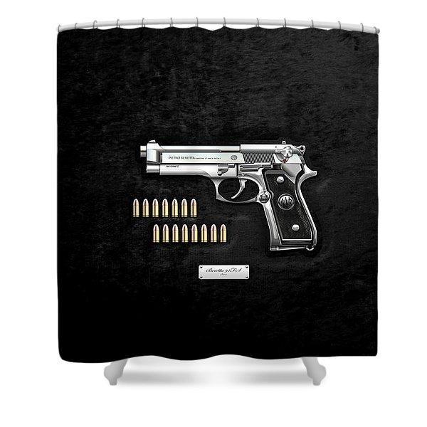 Beretta 92fs Inox With Ammo On Black Velvet  Shower Curtain