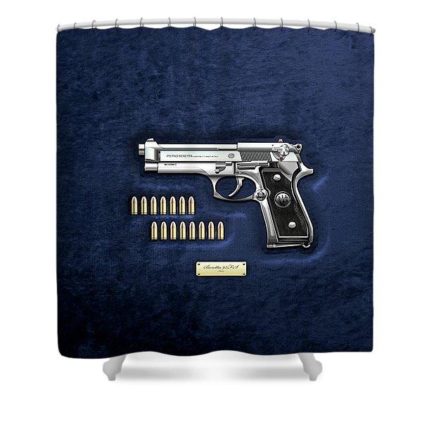 Beretta 92fs Inox With Ammo On Blue Velvet  Shower Curtain