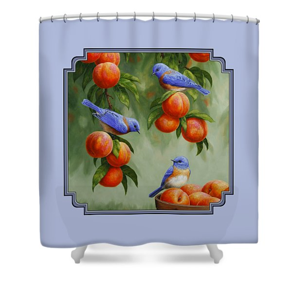 Bird Painting - Bluebirds And Peaches Shower Curtain