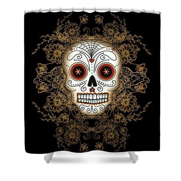 Vintage Sugar Skull Shower Curtain