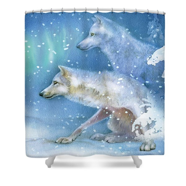 Snowy Den Wolves Shower Curtain