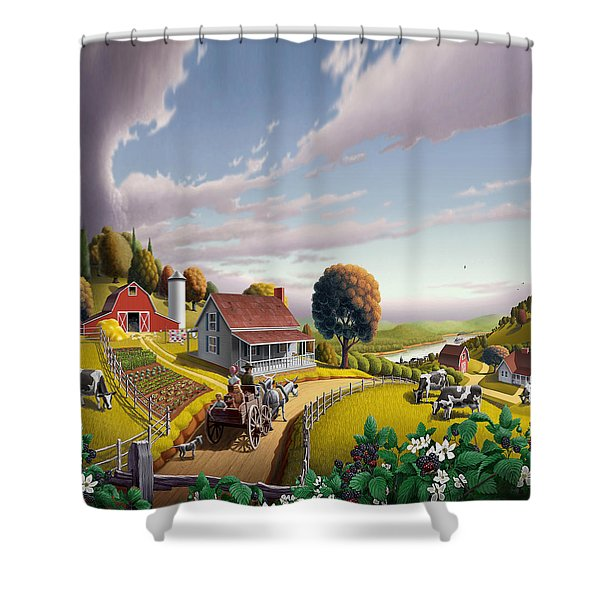 Appalachian Blackberry Patch Rustic Country Farm Folk Art Landscape - Rural Americana - Peaceful Shower Curtain