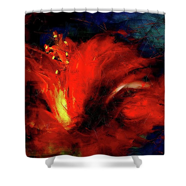 In Red Abstract Hibiscus Shower Curtain